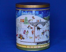 Vintage Holiday Scene Trail's End Gourmet Popcorn Tin