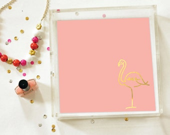 Gold Foil - Gold Foil Flamingo Tray - Trinket Tray - Lucite Tray - Serving Tray - Organization - Jewelry Organizer - Serving Tray - 3 Sizes
