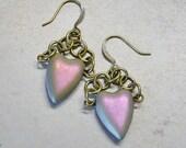 Heart Shaped Glass Beaded Antique Brass Linked Dangle Earrings, AB Czech Glass,Pink, Purple, Beaded Earrings, Valentine Heart Gift