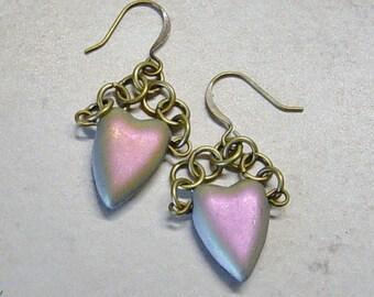 Heart Bead Earrings, Antique Brass Dangle Earrings,AB Czech Glass Heart Bead Earrings, Chainmaille Glass Bead Earrings,Valentine Heart Gift