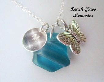 Turquoise Beach Glass Personalized Necklace Sea Glass Butterfly Monogrammed Jewelry Seaglass Necklace