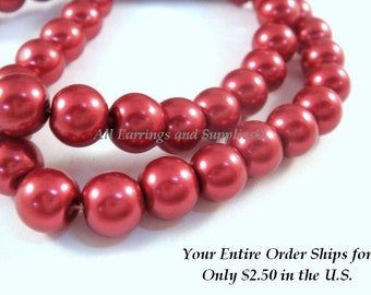 50 Brick Red Glass Pearls 8mm Beads - 14 inch - 5129