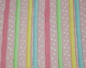 SALE vintage 90s cotton print fabric, featuring cute polka dot and stripe design 1 yard, 29 inches