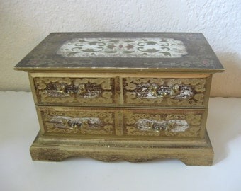Italian Florentine 2 Drawer Dresser Chest Jewelry & Music Box Royal Sealy