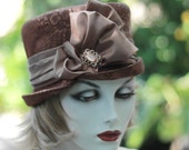 Vintage Style Edwardian Riding Hat, Bucket SteamPunk Hat in Copper Cinnamon Rust Brown Demask Fabric