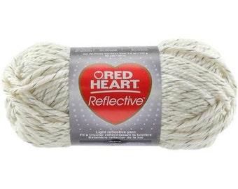 Red Heart Reflective yarn, ARAN bulky weight yarn, Glow in the dark yarn