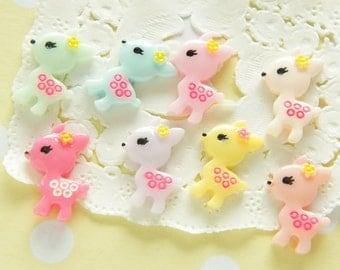 8 pcs Tiny Pastel Color Fawn Cabochon (14mm20mm) DR507