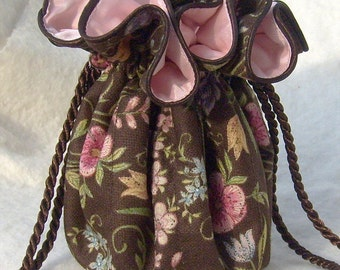 Super sweet Jewelry Bag, travel organizer in ballet pink and brown