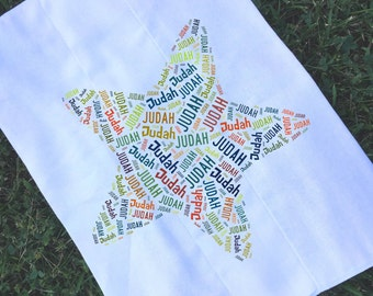 Personalized Star Burp Cloth Monogrammed Baby Shower Gift