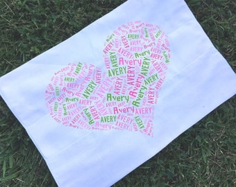 Personalized Heart Burp Cloth Monogrammed Baby Shower Gift