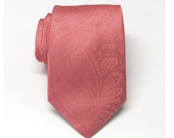Mens Tie Coral Paisley Mens Necktie With Matching Pocket Square Option