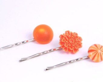 Hair Pins Orange Crush Citrus Flower Jewelry Accessories Gifts for Her Under 15