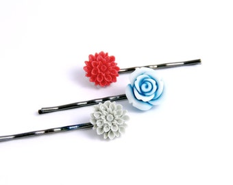 Flower Pins Red, Gray Blue Denim Hair Ornament Accessories Gifts for Her Under 15