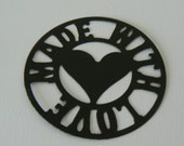 """heart Made with love round hand made round black tags 2.1/2"""""""
