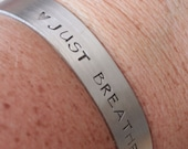 Just Breathe bracelet, hand stamped bracelet, yoga bracelet, inspiration bracelet, motivation bracelet, positive vibes, yoga jewelry