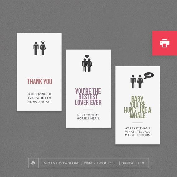 Printable Love Sexy Cards Husband Boyfriend Man Him