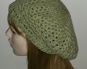 Frosted Heather Green Zig Zag Wool Slouchy Beret/Tam /Crochet Hat