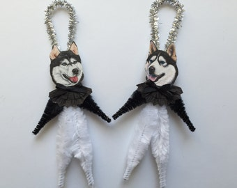 SIBERIAN HUSKY ornaments dog ORNAMENTS vintage style chenille ornaments set of 2