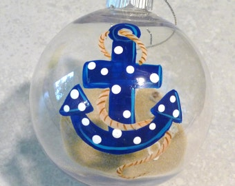 Original Design Hand-Painted Anchor Ornament
