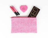LIMITED - Hot Pink and White Leopard Print makeup bag