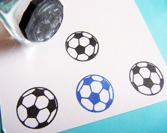 Tiny Soccer Ball Sports Rubber Stamp  - Handmade by BlossomStamps