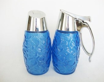 vintage blue glass cream and sugar servers gemco 1970s