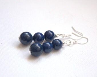 Lapis Lazuli earrings navy blue dangle drop earrings Valentine gift for her Gemstone earrings Round Beads beaded earrings jewelry jewellery
