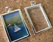 4 Rectangle Photo PIcture Frame Locket Pendants Jewelry Charms 24 x 38mm Setting