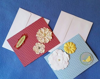 Two Colorful Chevron Blank Cards with Flowers - Bliss and Paradise