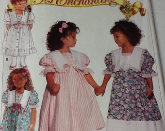 Butterick Girls Frilly Dress with collar pattern, uncut, size 2-4