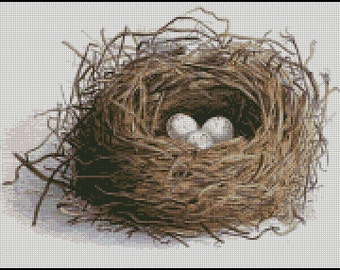 VINTAGE,  Bird nest WITH EGGS cross stitch pattern No.202