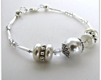 Pearl Bracelet, White Pearl Bracelet, Beaded Bracelet, Bridesmaids Bracelet, Tibetan Silver Bead Caps and findings 6 3/4 in Item 1125