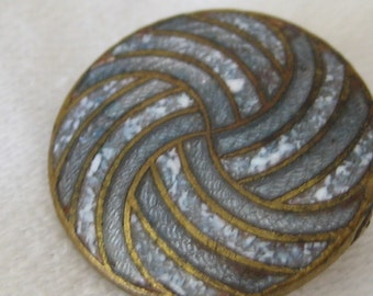 VINTAGE Spiral Gray Blue Enamel on Metal BUTTON