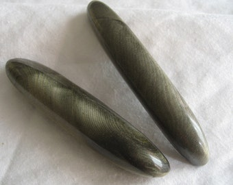 Set of 2 Very Long Large VINTAGE Olive Green Toggle Celluloid BUTTONS