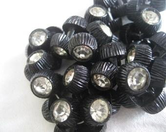 Set of 50 VINTAGE Factory Hank Rhinestone in Black Plastic BUTTONS