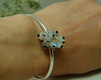 Moonstone Spinel Bangle Bracelet Sterling Silver Bangle Bracelet