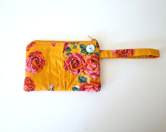 Small Zipper Bag Pouch with Strap Wristlet Yellow and Roses Boho Style