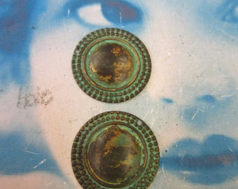 Verdigris Patina Brass 22mm Round Ornamental Stampings  213VER x2