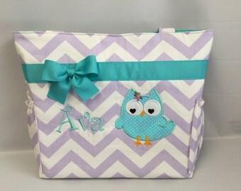 Girly OWL ... CHEVRON  in LAVENDER  .. .. Aqua Accents    ...   Diaper Bag ... Bottle Pockets ...  Monogrammed  FReE