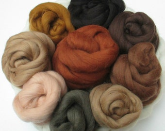 Choose Your Color: 100 gm Fine Merino Combed Top in Browns, Beiges, and Earthy Autumn colors for Spinning, Felting