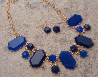 Necklace and Earring Set, Bold Royal Blue Necklace and Earring Set