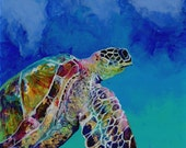 Original Sea Turtle Painting - Reverse Acrylic Art -  Hawaiian Honu Sea Turtle - Whimsical Ocean Art - Swimming Turtle in Ocean - Kauai Art