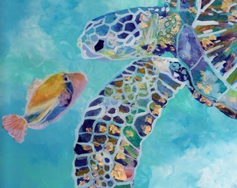 Sea Turtle and Fish - 8x8 art print - Kauai Hawaii - Tropical Fish Sea Life Art - Whimscial Animal Art - Turtle Decor - Kids Room Art