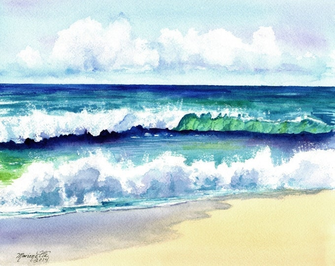 Polihale Waves 3 - Kauai Hawaii - 8 x 10 Art Print - Beach Wave Art - Kauai Surfing Art - Beach Sand Ocean Print - Hawaiian Landscape Decor