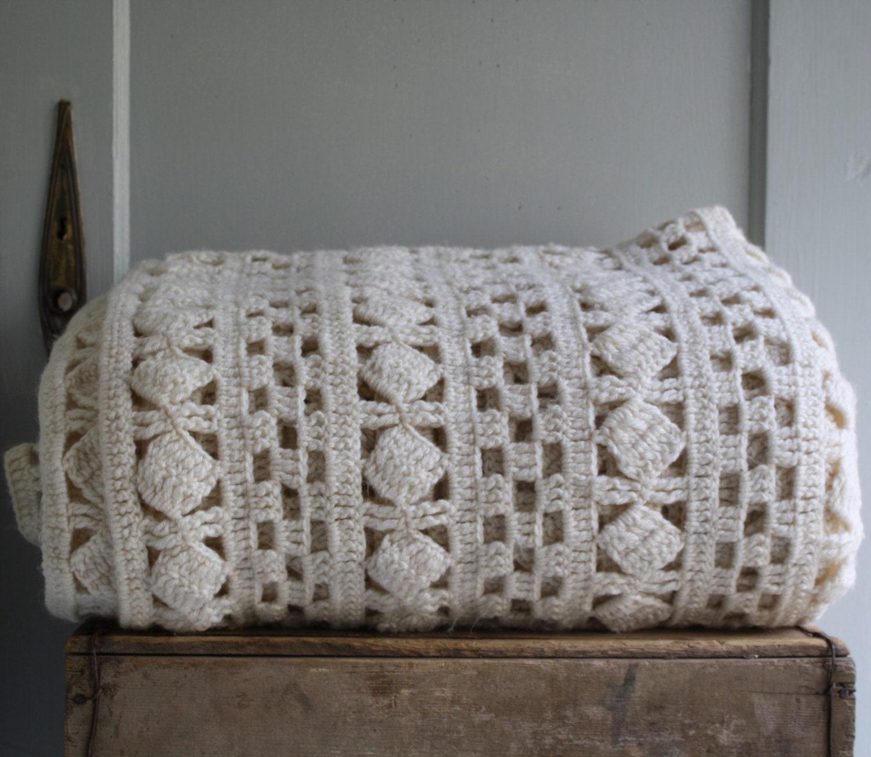 Knitting Pattern Queen Size Blanket : vintage hand knit bedspread blanket coverlet by littlebyrdvintage