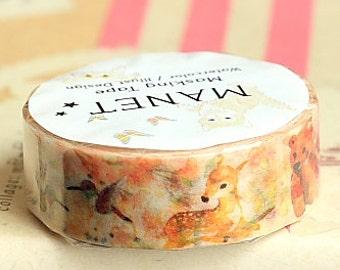 Japanese Kawaii Washi Paper Masking Tape by Manet - Cherry Blossom Bambi (MN-MT2-038)