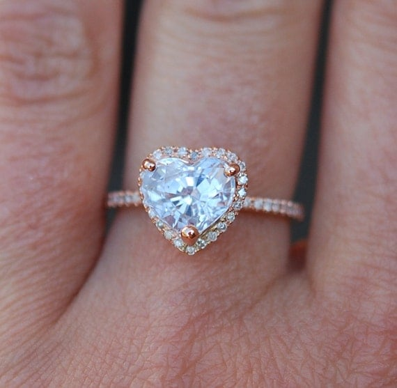 Engagement ring. Heart sapphire rose gold ring. 1.5ct Heart white sapphire 14k rose gold diamond ring engagement ring