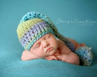 Baby Stocking Hat, Baby Elf Hat, Baby Long Tail Hat, Newborn Hat Boy, Baby Hat Crochet, Baby Girl Hat, Baby Photo Prop Hat