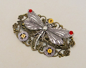 Steampunk dragonfly with red crystals brooch. Steampunk jewelry.
