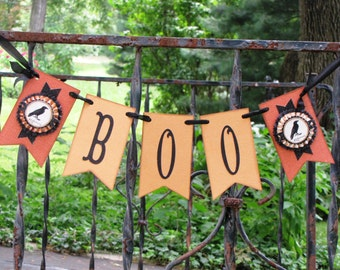 Vintage Inspired Black and Orange Halloween BOO  Banner Garland Victorian Paper Rosettes with Crows Ravens
